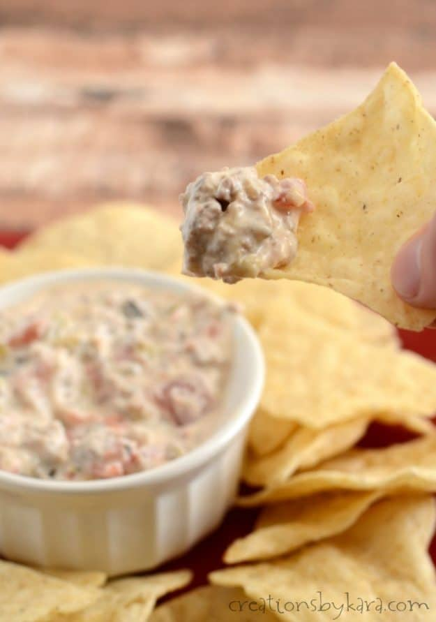 No one can resist this warm spicy dip that is loaded with sausage. A perfect appetizer for game day or any party!