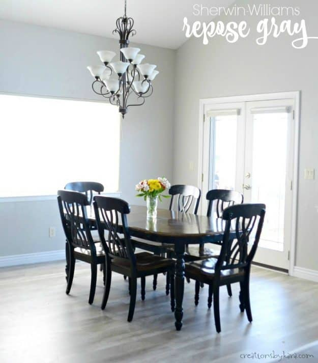 Sherwin Williams Repose Gray - the best gray paint ever! Repose gray looks great in any lighting.