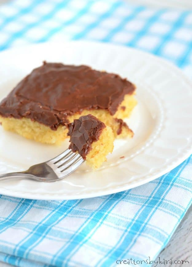 Recipe for simple yellow sheet cake with chocolate frosting. An easy but melt in your mouth sheet cake.