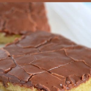 yellow sheet cake with chocolate frosting pinterest pin