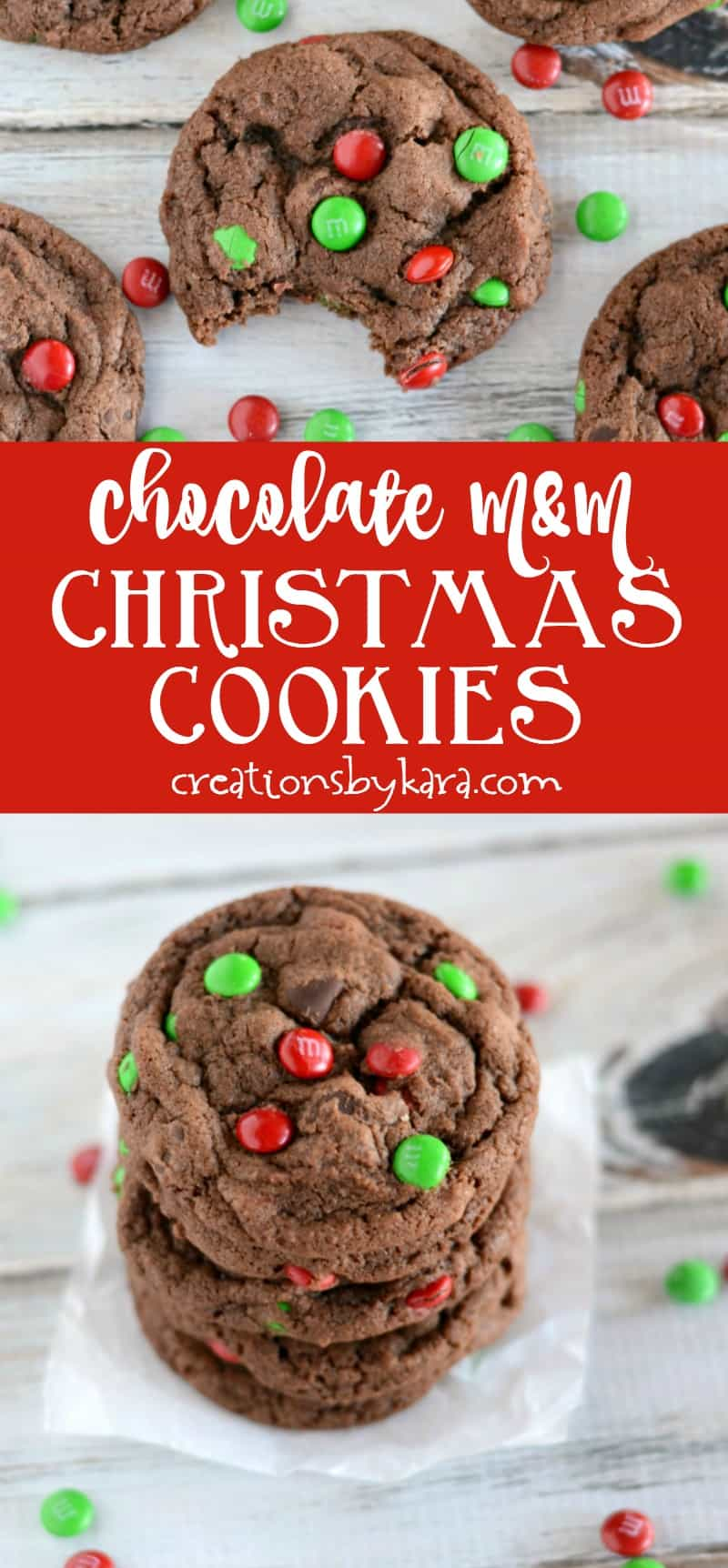 Chocolate M&M Cookies - a thick and fudgy chocolate cookie loaded with yummy ingredients.
