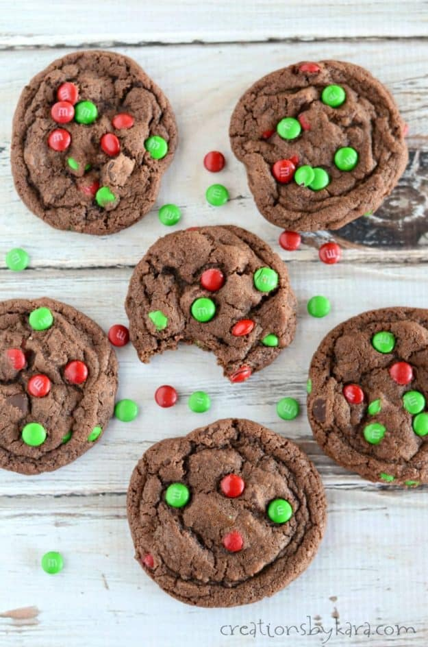 Soft and fudgy M&M chocolate cookies are always a favorite!