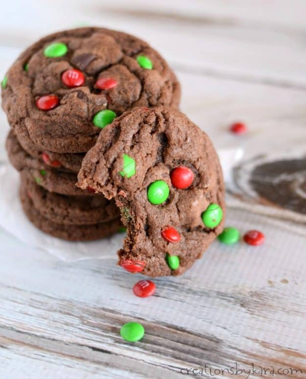 M&M Chocolate Cookies - a thick and fudgy chocolate cookie loaded with yummy ingredients.