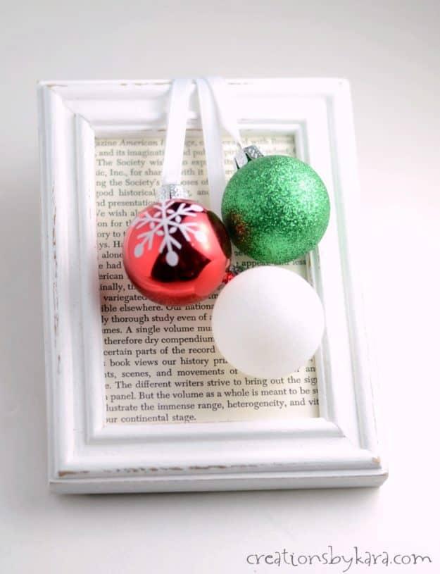 Easy Christmas decor - DIY framed Christmas ornaments. A quick and easy Christmas decoration.