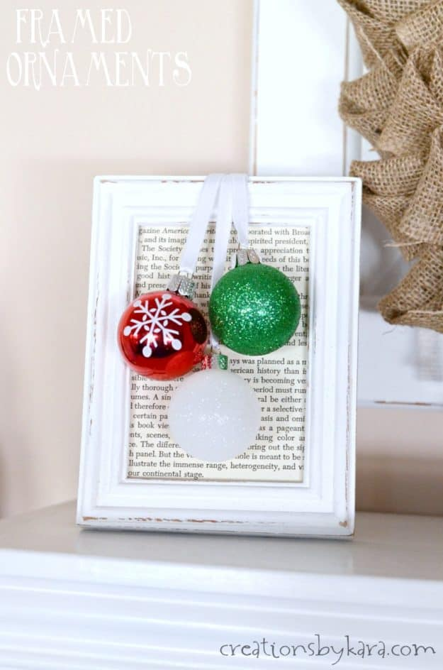 it only takes about 5 minutes to make these framed ornaments. Such a simple Christmas decor project! Easy Christmas craft from creationsbykara.com