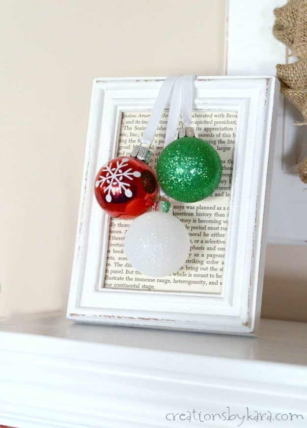 How to make framed Christmas Ornaments. Customize the color to match any Christmas decor. A simple and inexpensive Christmas project!