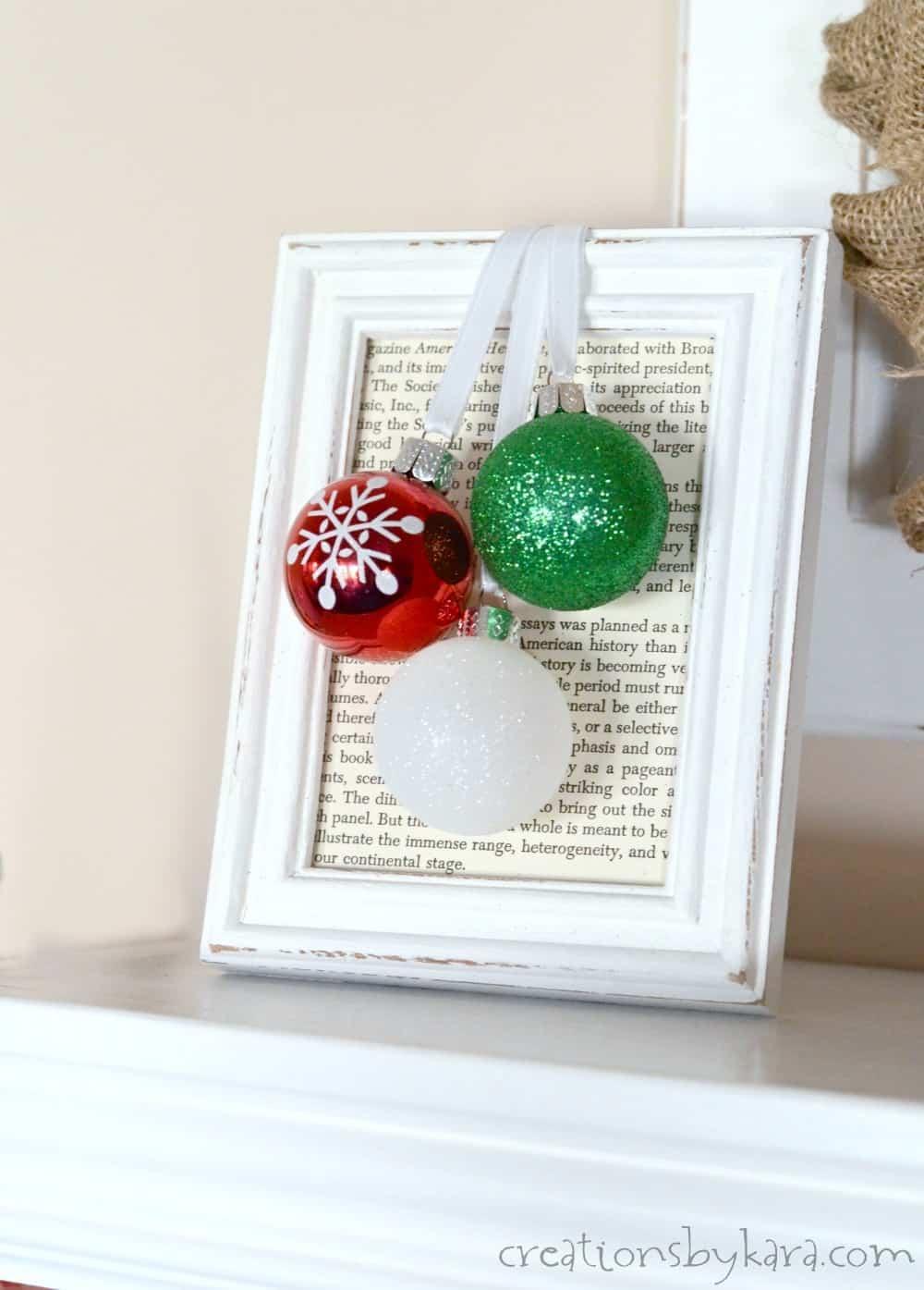 Simple Framed Ornaments (5 minute Christmas decor) - Creations by Kara