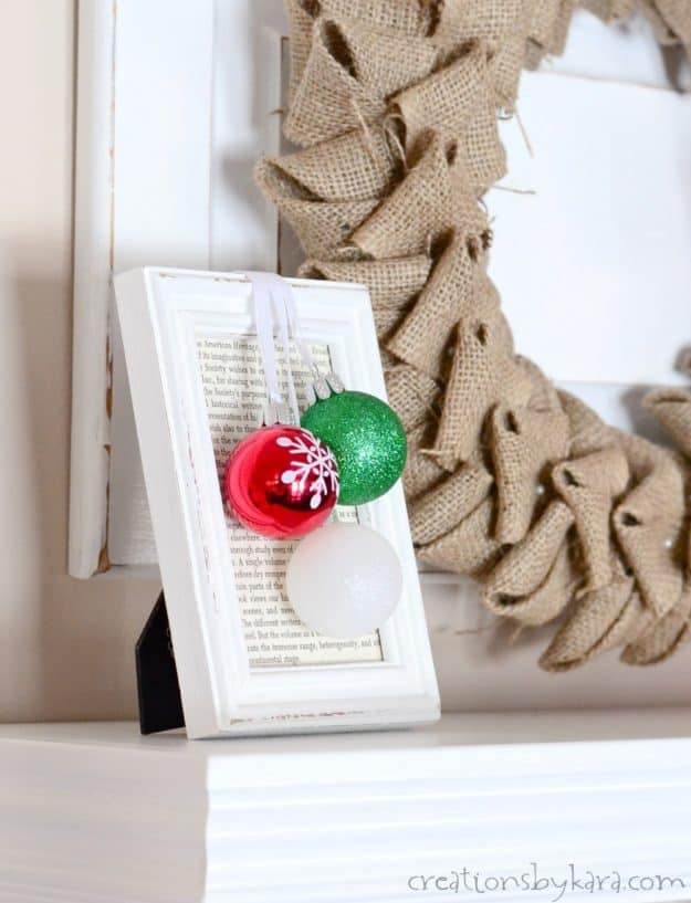 christmas ornaments framed with book pages