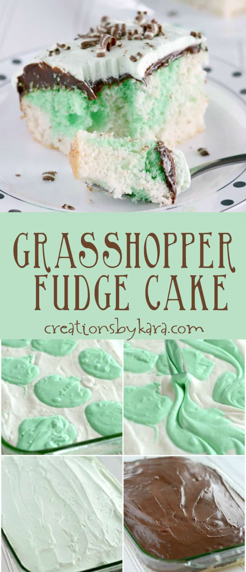 With a layer of fudge and creamy mint topping, this Grasshopper Cake is irresistible! #chocolatemint #cake