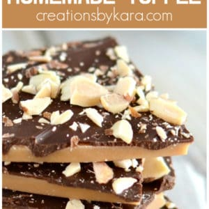 homemade toffee recipe collage