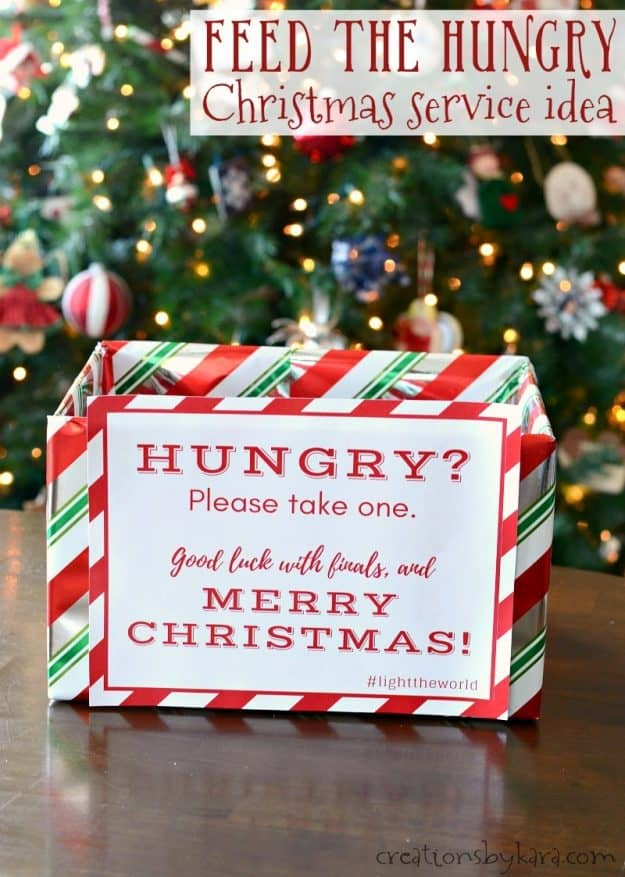 Light the World - Feed the Hungry Christmas service idea | free printable Christmas service project idea