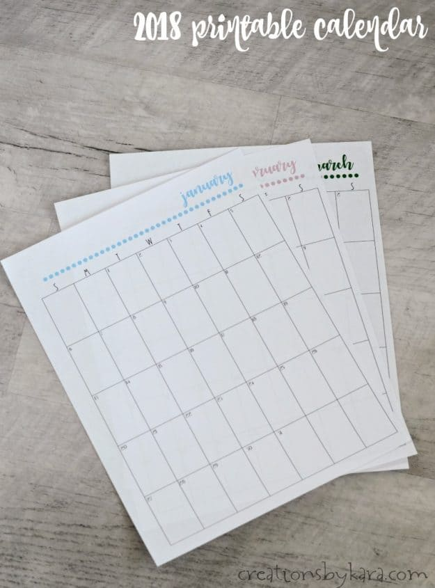 Free printable 2018 calendar - great for organizing!