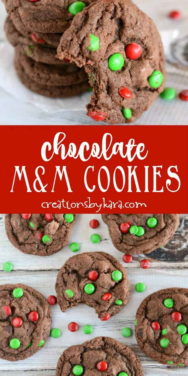 chewy m&m chocolate cookies recipe collage