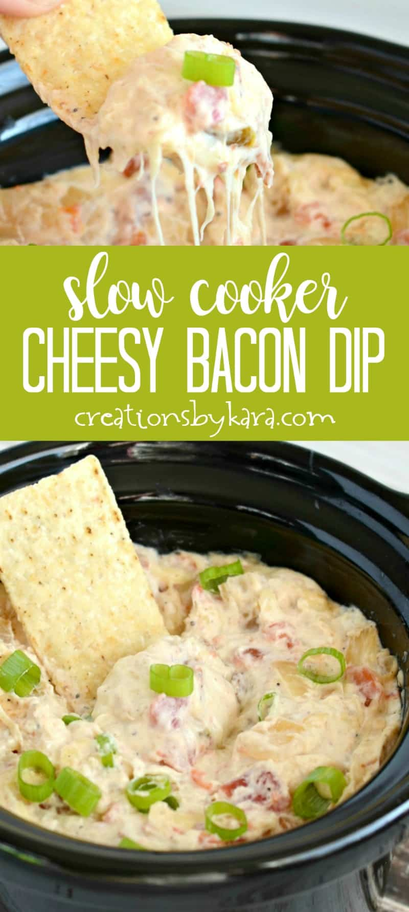 Slow Cooker Cheesy Bacon Dip - loaded with cheese and bacon, and a bit of a kick, this dip is a crowd pleaser! #appetizer #gameday #recipe