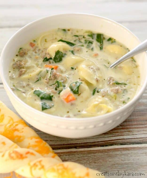 Creamy sausage soup loaded with tortellini and spinach