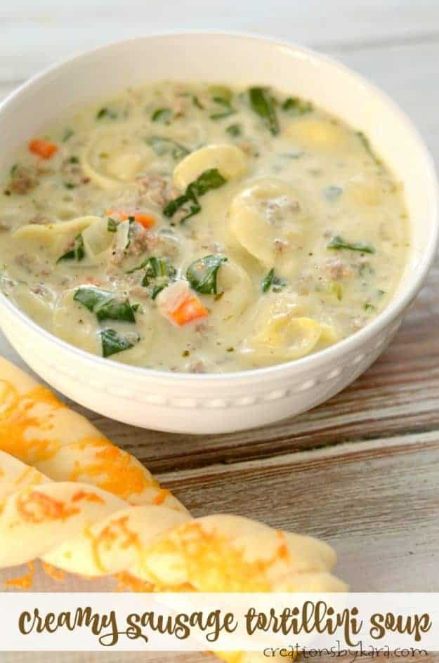 Creamy Sausage Tortellini Soup - this hearty soup is loaded with tasty ingredients! #soup #tortellini #sausage