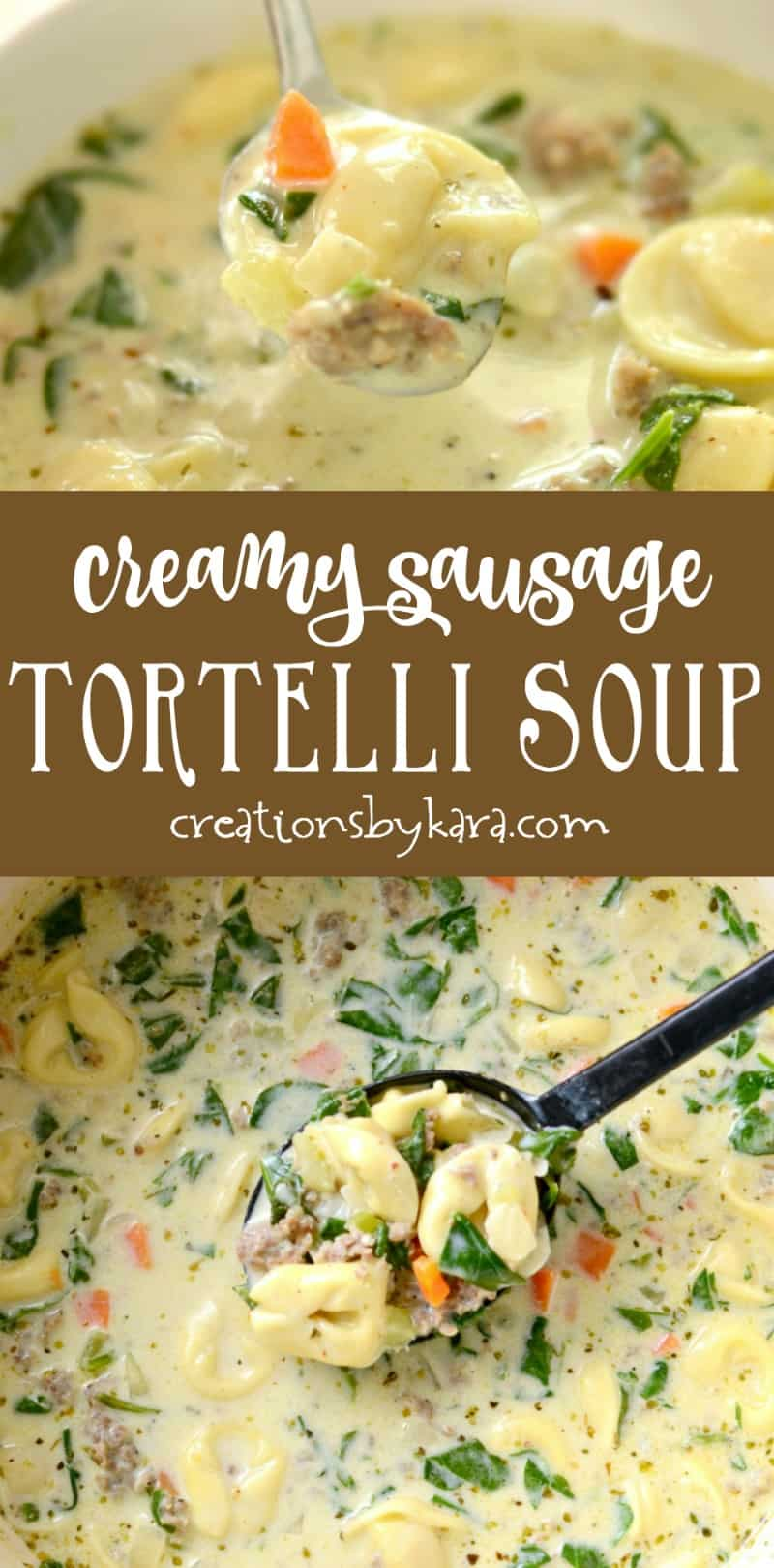 Make this Creamy Sausage Tortellini Soup to warm you up on winter evenings! A hearty and satisfying soup recipe. #soup #tortellini #sausage