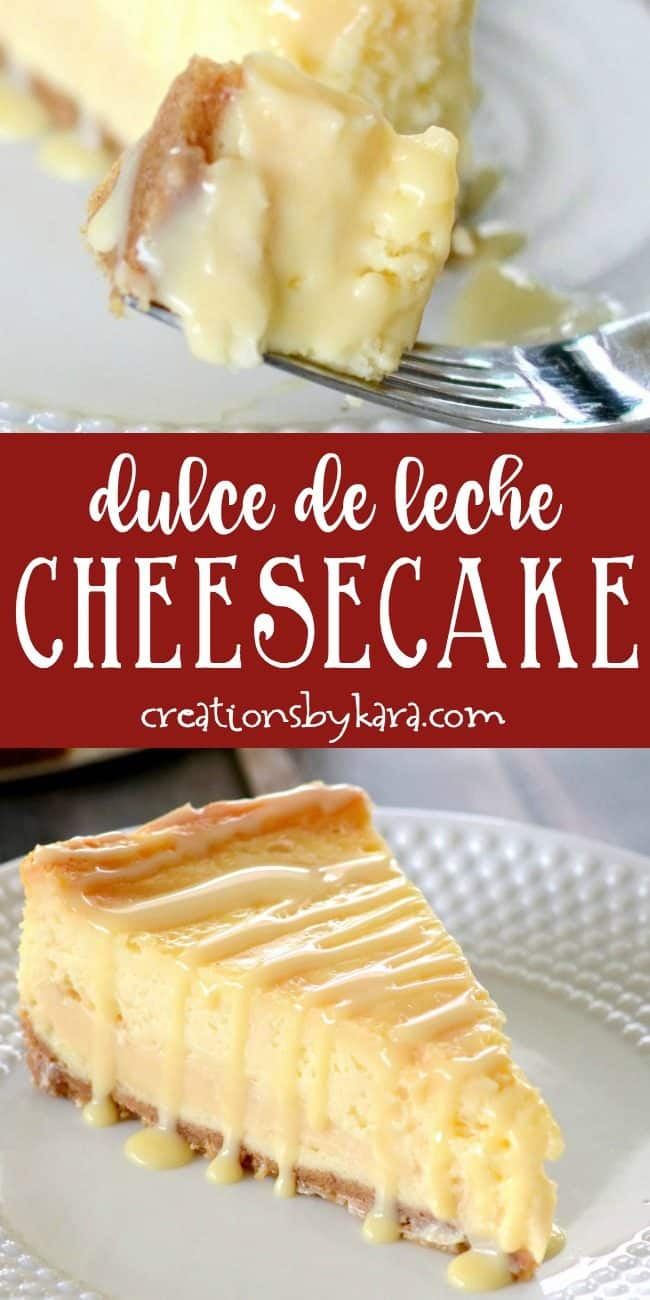 dulce de leche cheesecake recipe collage
