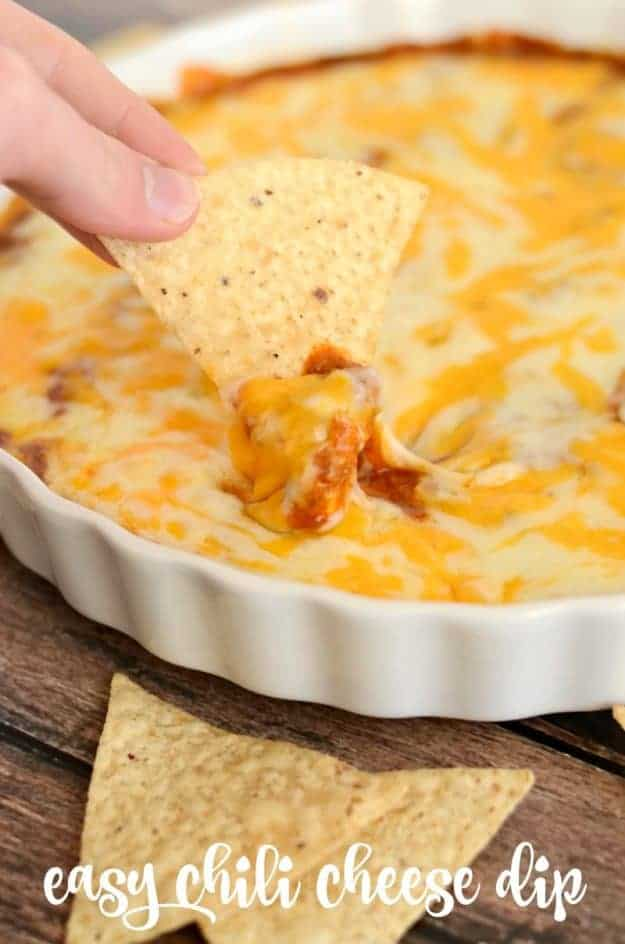 Chili Cheese Dip - loaded with beans, cream cheese, and two kinds of cheeses, this dip is always a hit! #dip #appetizer #cheese