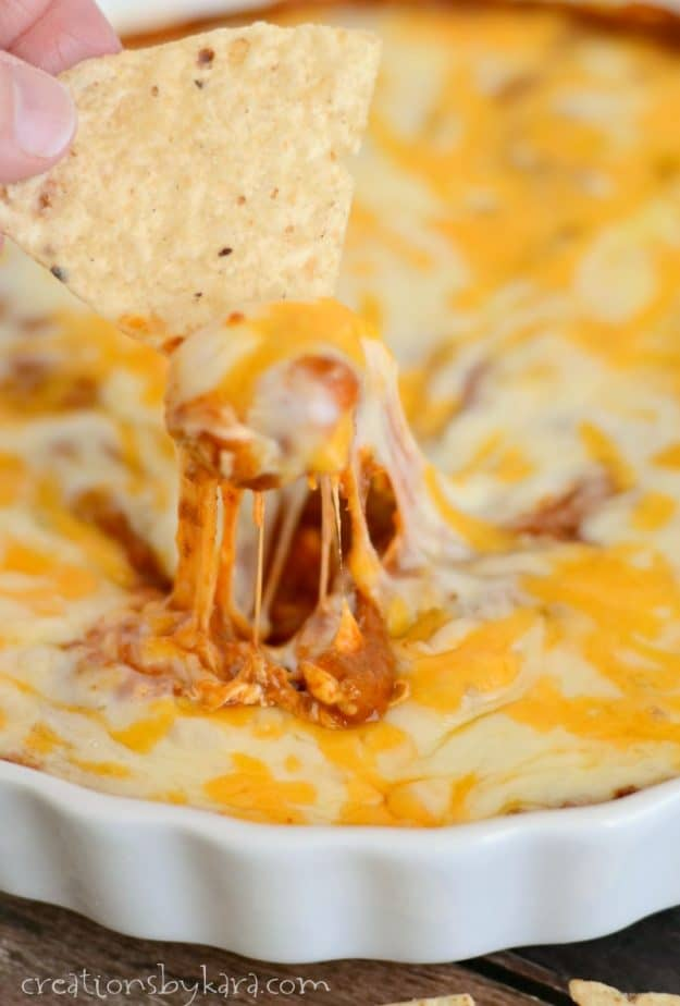 close up of hot chili cheese dip