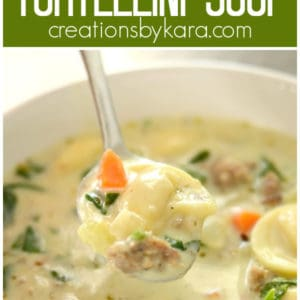 creamy tortellini soup with sausage collage