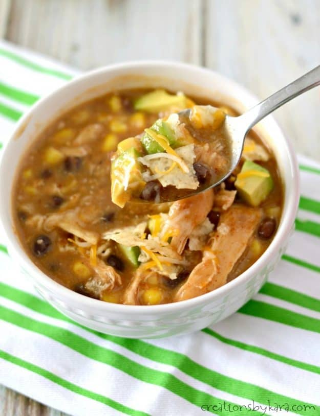 The garnishes make this chicken enchilada chili unbeatable!