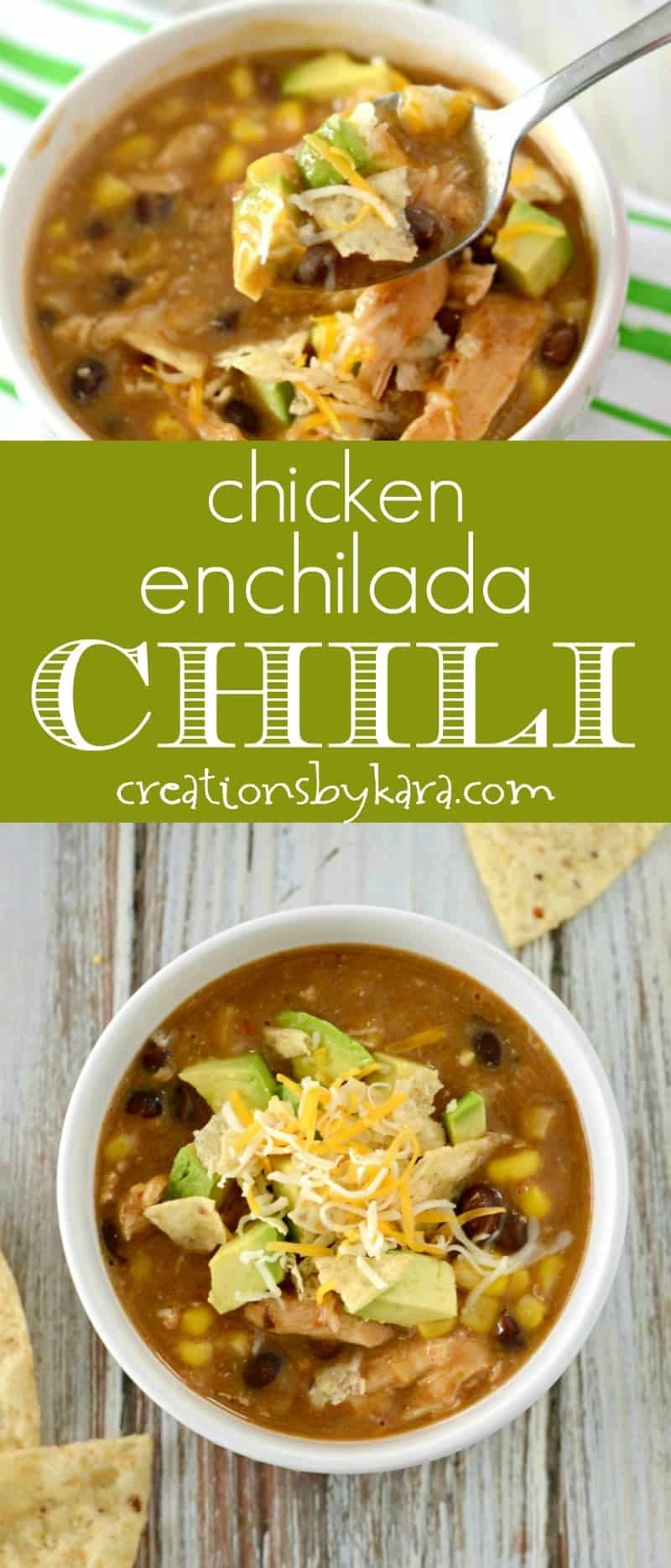 Easy Chicken Enchilada Chili - this easy chicken chili recipe is sure to become a family favorite. It only takes a few minutes of prep time, and it is packed with flavor! #chili #chickenchili #easychili