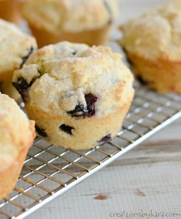 close up of blueberry muffin on a cooling rack