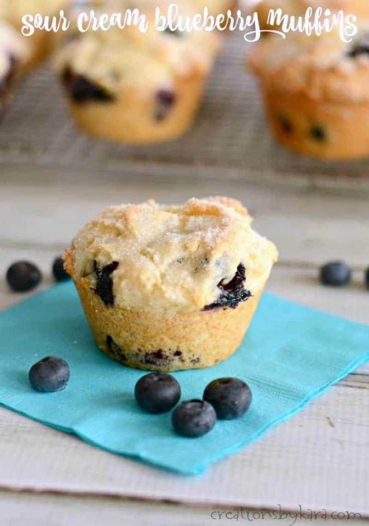 Sour Cream Blueberry Muffins - soft, tender, and bursting with blueberries, these muffins are a perfect way to start the day. #blueberrymuffins #baking #breakfastrecipe