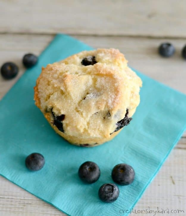 overhead shot of blueberry muffin sprinkled with sugar