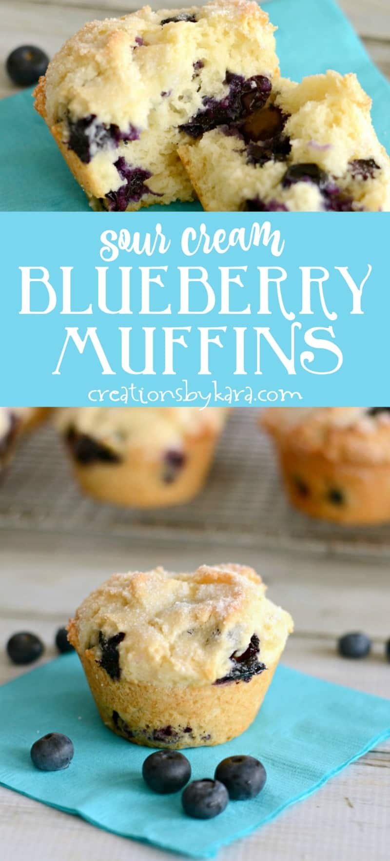 Sour Cream Blueberry Muffins . . . sour cream makes these muffins extra soft, and adds a nice rich flavor. A must try blueberry muffin recipe. #blueberrymuffin #blueberry #muffins #breakfastrecipe