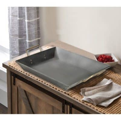 serving tray with gold handles