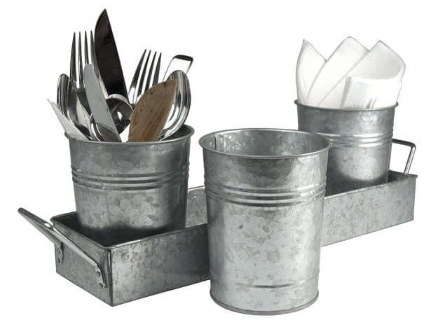 galvanized utensil caddy