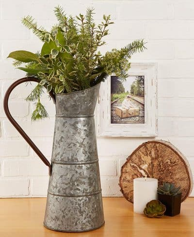 galvanized pitcher with greenery