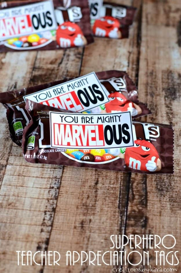 Mighty Marvelous Teacher Appreciation idea | super hero teacher appreciation tags