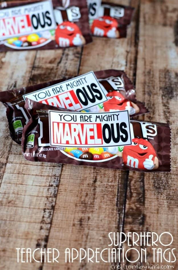 Mighty Marvelous Teacher Appreciation idea | super hero teacher appreciation tags