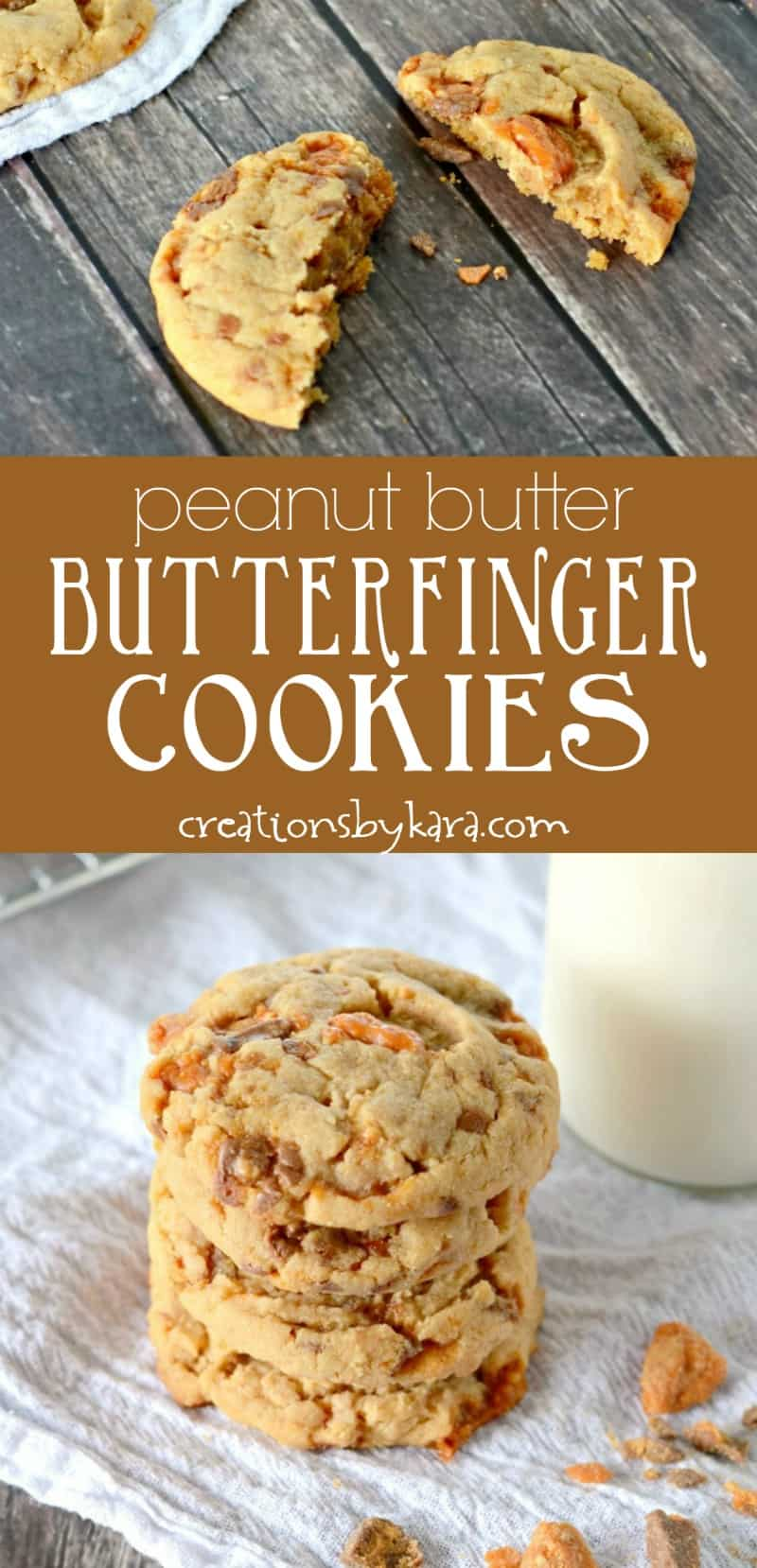 Peanut Butter Butterfinger Cookies - Creations by Kara