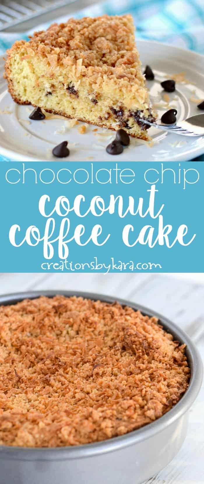 Chocolate Chip Coconut Coffee Cake - a decadent coffee cake recipe that is hard to resist. #coffeecake #coconutchocolate #brunchrecipe #toastedcoconut
