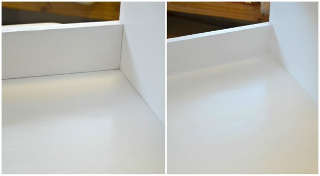 Inside of cubby in corner mudroom bench tutorial