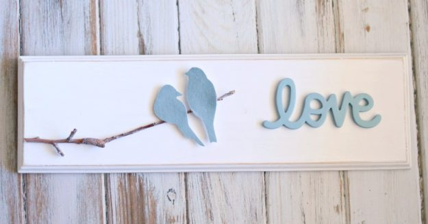 DIY love bird wood sign tutorial