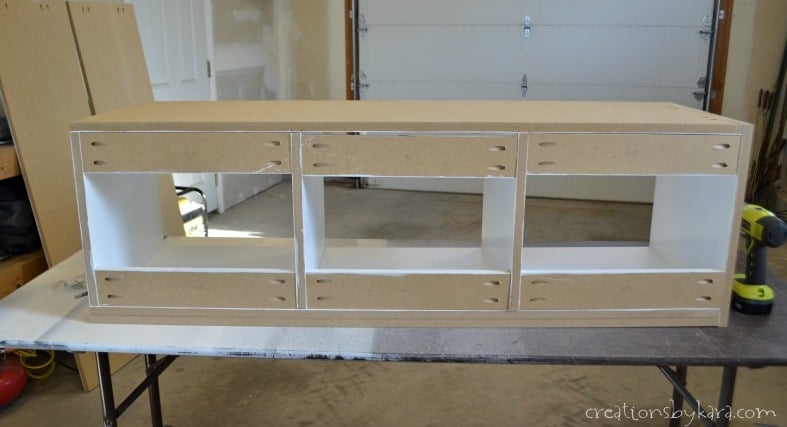 Back Of Diy Mudroom Bench