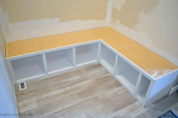 corner mudroom bench with trim