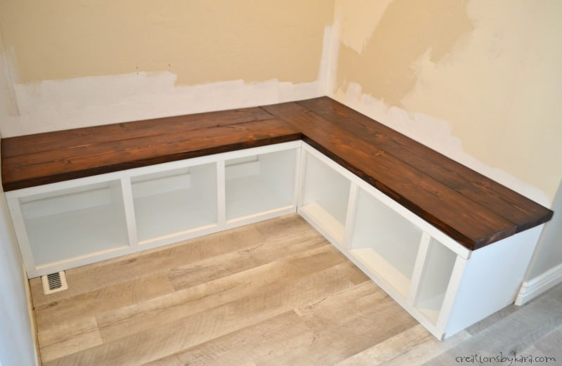 Corner Mudroom Storage Bench With Wood Seat
