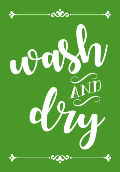 free printable wash and dry laundry sign - green