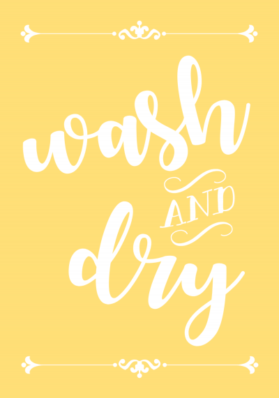 yellow wash and dry printable laundry sign