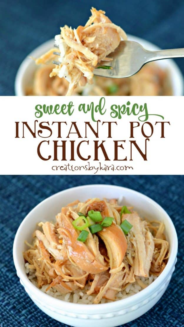pressure cooker sweet and spicy chicken pinterest collage