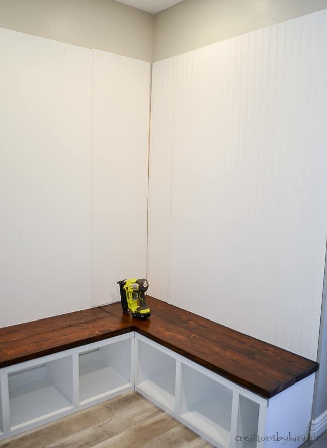 Adding beadboard to corner mudroom bench