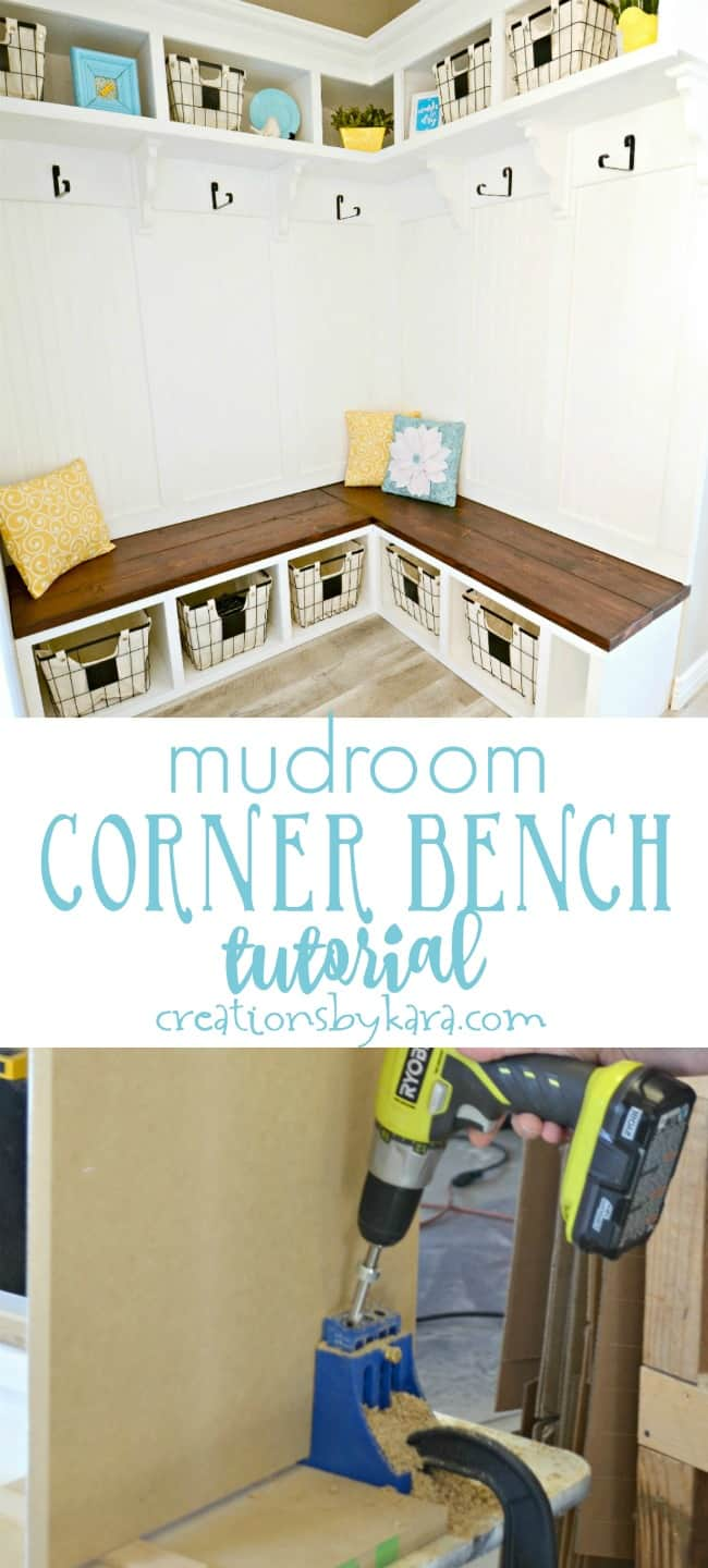 Mudroom Corner Bench Tutorial #cornerbench #mudroombench #diybench