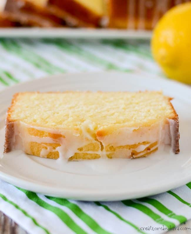 slice of lemon pound cake on a plate