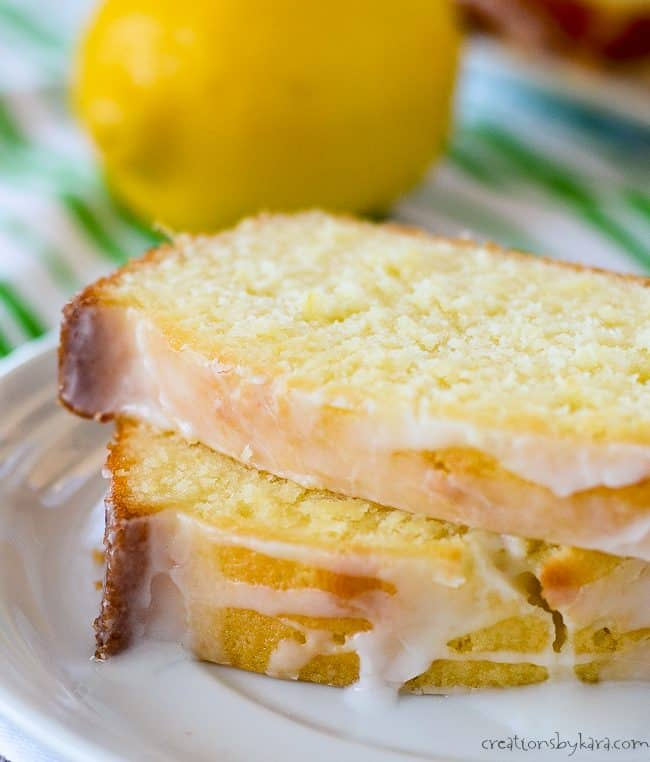 Plate with slices of lemon pound cake topped with lemon icing